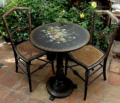 19th Century Lacquer Table and Chairs