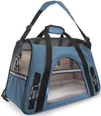 Pet Carrier Soft Sided Small Cat / Dog Comfort Mineral Blue Bag Travel Approved