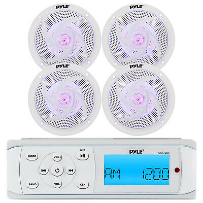 "Marine Boat In Dash MP3 AUX USB iPod Stereo Player & 4 X 4"" White MarineSpeakers"