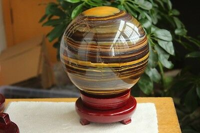 6160g BEST!!! NATURE TIGEREYE CRYSTAL SPHERE BALL + STAND