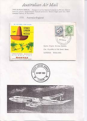 1964 Australia to England Qantas Inaugural service First Flight Cover