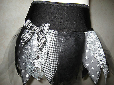 New Adult Black Grey White Stars check petal Lace Tutu Skirt Alternative Fashion