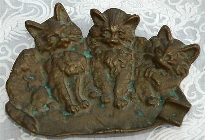 Vintage Bronze Ashtray With Three Kittens or Cats and Original Patina