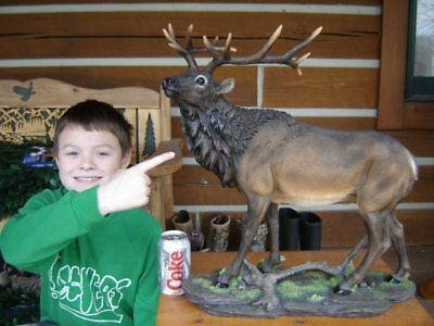 "ELK LARGE ANTLER  STATUE 22"" TALL  LODGE CABIN LOG TAXIDERMY"