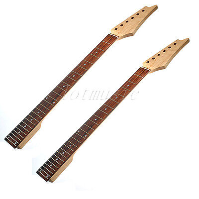 2pcs Guitar Neck Maple Square Heel Rosewood Fretboard 24 Fret for Electric parts