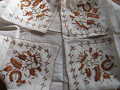 Vintage Tablecloth Embroidered Turkish Table Cover metallic embroidery Square