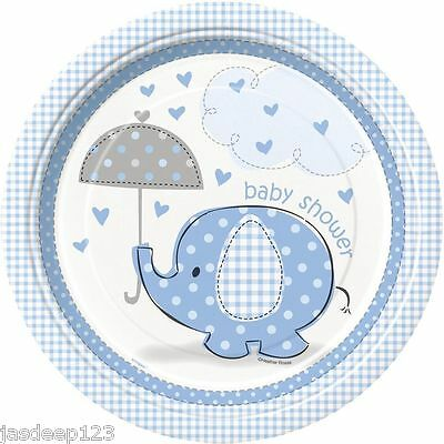 8 Baby Shower Paper Plates Blue Umbrellaphants Party Supplies Tableware Boy