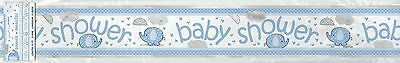 12FT Baby Shower Party Foil Banner Blue Umbrellaphants Party Supplies Boy