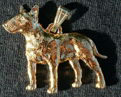 BULL TERRIER Dog 24K Gold Plated Pewter Pendant Jewelry USA Made
