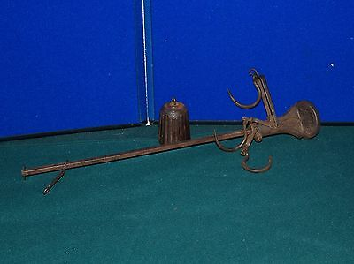 """ANTIQUE 16"""" HANGING BEAM FARM COTTON 3 HOOK SCALE WITH WEIGHT FUR MEAT HIDE PELT"""