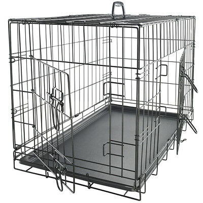 """30"""" Dog Crate 2 Door w/Divide w/Tray Fold Metal Pet Cage Kennel House for Animal"""