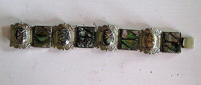 Vintage TAXCO Jewelry ABALONE SHELL STERLING SILVER Bracelet .925 hinged panels