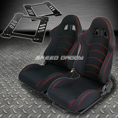 Pair Type-1 Reclining Black Cloth Racing Seat+Bracket For 92-99 Bmw E36 2-Dr