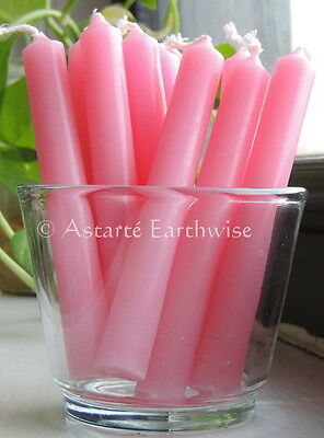 2 x PINK - SPELL WORK CANDLE 10cm Wicca  Witch Pagan Goth Ritual Herb CHIME