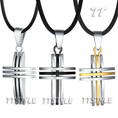 Top Quality TT 316L Stainless Steel Cross Pendant Necklace 3 Colours NEW (NP239)