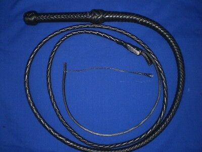 BLACK COVERED HANDLE  bullwhip 8 plait 8 ft leather whip whips bullwhips bull