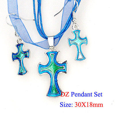 k032436 Cross Design Aqua Enamel Dangle Pendant Necklace Silk Cord Earrings Set