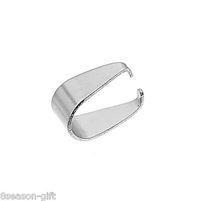 100PCs Stainless Steel Pendant Pinch Bail Clasps Silver Tone 7.7mmx5.4mm