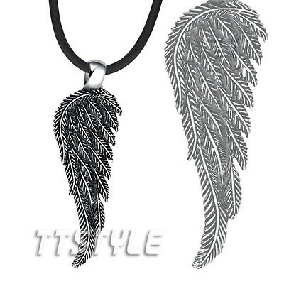 TT 316L S.Steel Feather Angel Wing Pendant Necklace Mens & Womens NEW NP254
