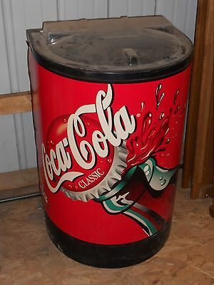 Round Coca-Cola Soda Bottle Can Cooler Ice Chest store display on Wheels