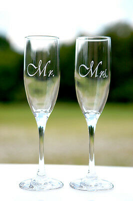 2 Personalized Mr Mrs Wedding Toasting Champagne Flute Glasses Personalized