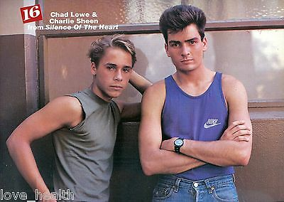 "CHAD LOWE - CHARLIE SHEEN - DARYL HALL - TEEN BOY - 11""x8"" MAGAZINE POSTER PINUP"