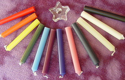 12 x  CANDLE SPELL KIT & STAR HOLDER Wicca Pagan Witch Goth Reiki New Age Ritual