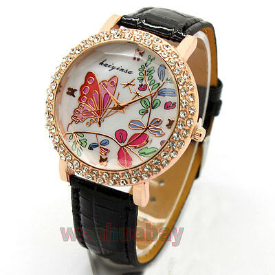 Women's Butterfly Leaf Leather Band Round Crystal Dial Quartz WristWatch P Q3991