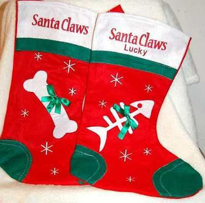 Personalised Embroidery Pet Cat Or Dog Christmas Stocking Santa Paws Santa Claws