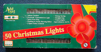 vintage 50 Christmas Lights miniature clear green string indoor outdoor