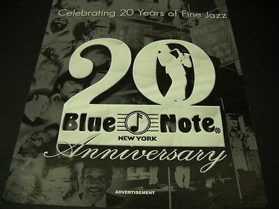 BLUE NOTE New York 20 Years Of Fine Jazz 2001 PROMO POSTER AD mint condition