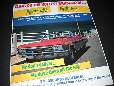CROWDED HOUSE and PSEUDO ECHO Hottest Bandwagon 1987 promo only trade advert