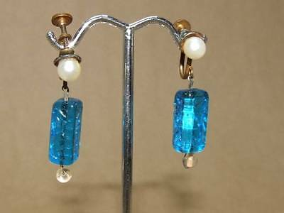 VTG Art Deco Egyptian Revival Faux Pearl Carved Blue Glass Dangle Screw Earrings