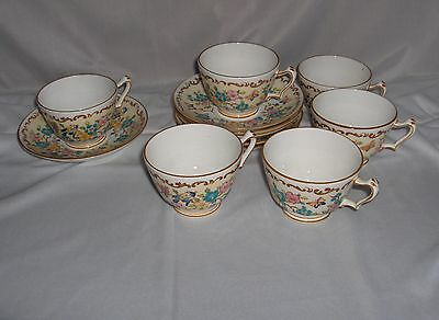6 Vintage Cups & Saucers Crown Staffordshire Bone China #15663 NICE