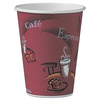 12 oz. Solo To Go Hot Drink Coffee Cafe Cups Paper Bistro Design Maroon - 300 ct