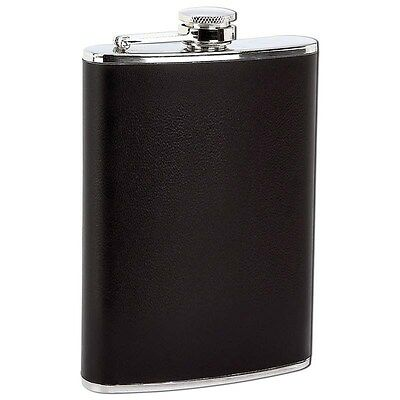 8 oz Stainless Steel Hip Pocket Flask Black Wrap Screw DownCap Alcohol Container