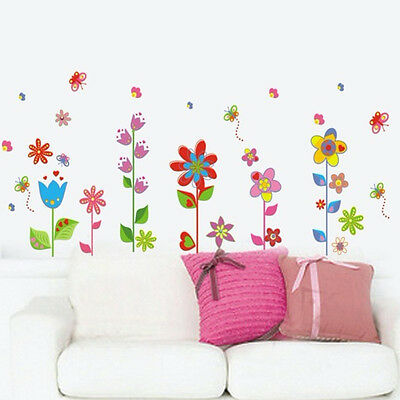 Flowers Floral Butterfly Art Vinyl Wall Sticker Decal Mural Living Room Decor