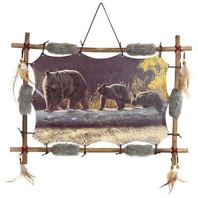 Mandella Bear Dream Catcher Picture 22x16 beads feathers Framed Indian Style