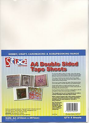 STIX2 PERMANENT A4 DOUBLE SIDED TAPE SHEETS x 5 ACID FREE ADHESIVE S57107