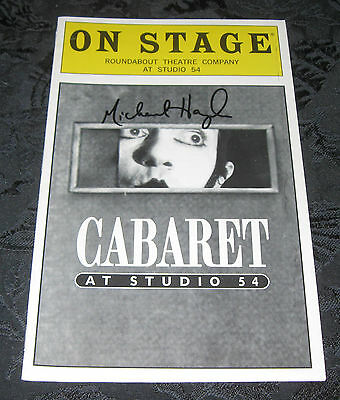 Playbill CABARET at Studio 54, signed by Michael Hayden