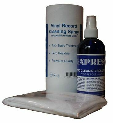 EXPRESS 250ml Anti-Static Spray; Vinyl LP Record Cleaner / Cleaning Fluid +Cloth