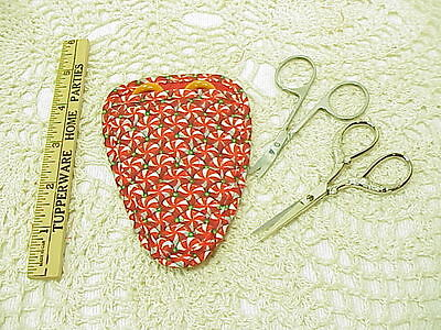 Peppermint Candy Quilted embroidery / needlework scissor holder cotton fabric