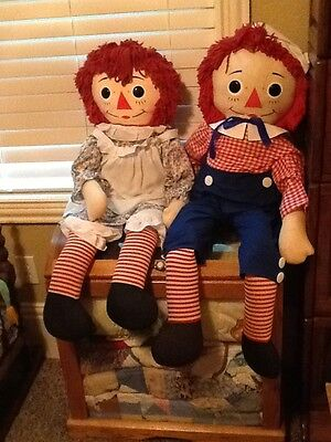 Vintage Raggedy Ann and Andy 32 inch dolls