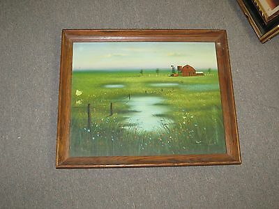 """Vintage Signed Oil on Canvas Painting  20""""x16"""" - 19""""x22"""" Log Cabin - Scene"""