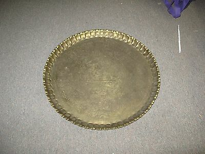 Vintage Etched Copper Plate Table Tray Egypt Egyptian Scene Handmade 22""