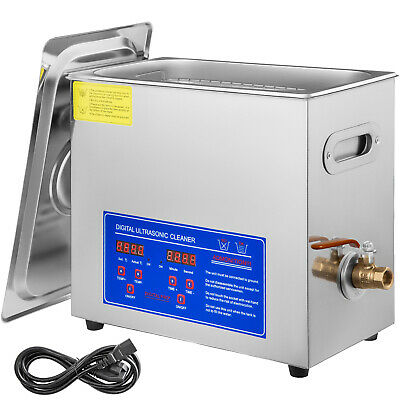 Stainless Steel 6 L Liter Industry Heated Ultrasonic Cleaner w/ Timer Heater