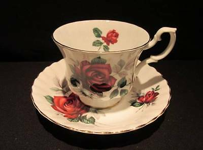 Royal Albert Deep Red Rose with Grey Flowers Vintage Tea Cup & Saucer