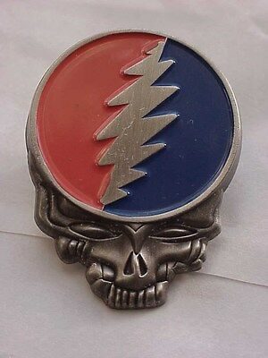 GRATEFUL DEAD   PEWTER SKULL AND LIGHTNING BOLT  CLOISSONE PIN 1980'S ERA