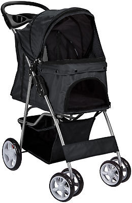OxGord Pet Stroller Cat Dog 4 Wheel Walk Stroller Travel Folding Carrier BLACK