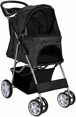 Pet Stroller Cat Dog 4 Wheel Walk Stroller Travel Folding Carrier BLACK